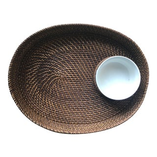 Rattan Woven Serving Tray-Chip & Dip For Sale