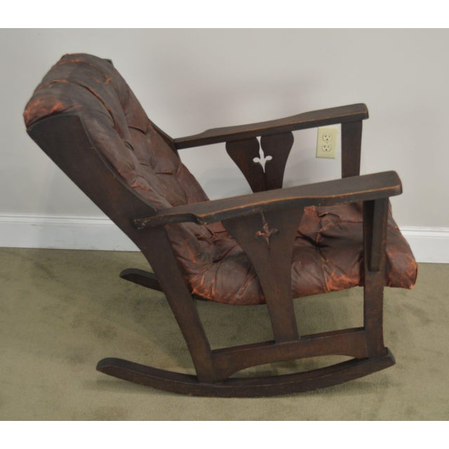 Charles Limbert Antique Mission Arts & Crafts Period Oak Rocker With Cut Outs- Possibly Limbert For Sale - Image 4 of 13