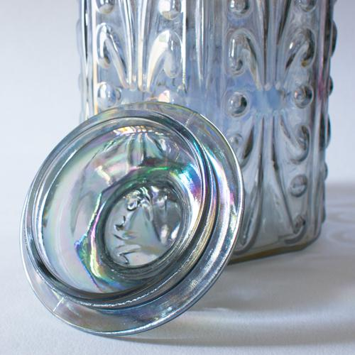 Iridescent Carnival Glass Canister For Sale - Image 4 of 4