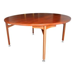 Jens Risom Danish Modern Round Walnut Dining Table