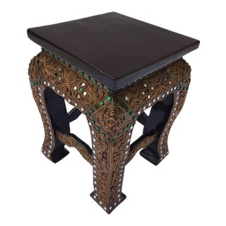 20th Century Asian Small Low Wooden Gilded Table Stand For Sale