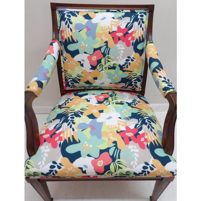 Contemporary Colorful Upholstery Bold Accent Side Arm Chair For Sale - Image 3 of 7