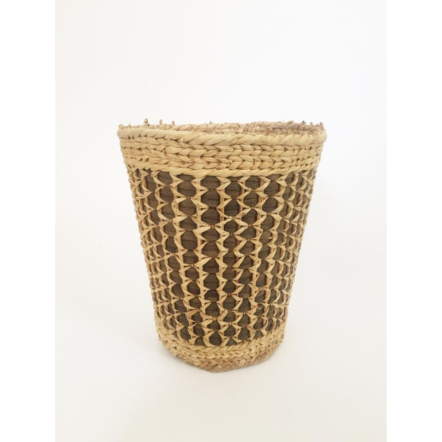 Straw Vintage Large Two Tone Plant Basket For Sale - Image 7 of 7