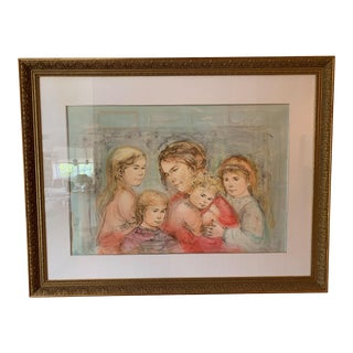 1970s Edna Hibel Mother With Four Children Painting For Sale