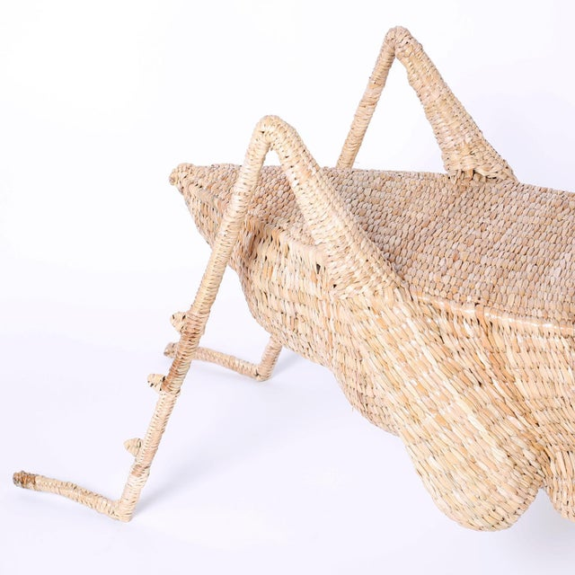 Contemporary Midcentury Mario Torres Wicker Cricket Table, Pair Available For Sale - Image 3 of 10
