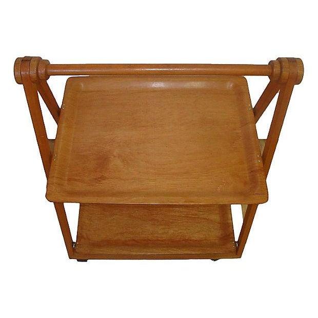 Danish Mid-Century Modern Folding Teak Bar Cart - Image 3 of 7