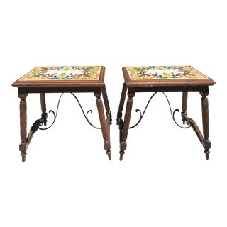 1940s Mediterranean Tile Top Tables - a Pair For Sale