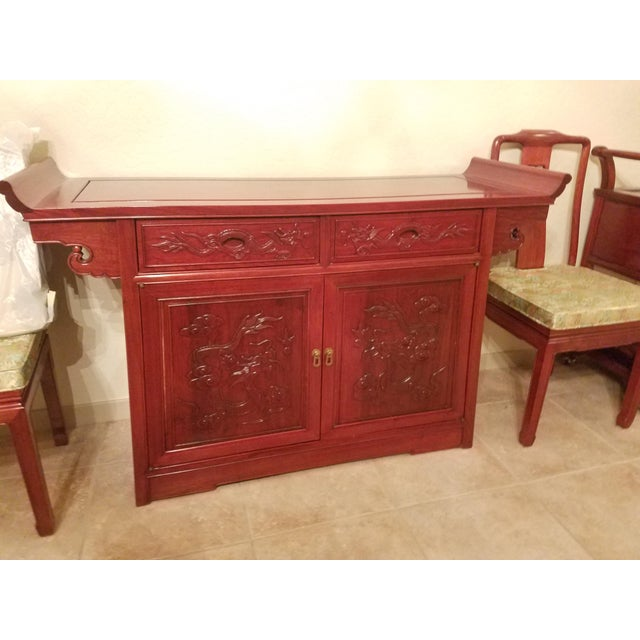 Ceramic Vintage Chinese Rosewood Imperial Dragon Credenza For Sale - Image 7 of 7