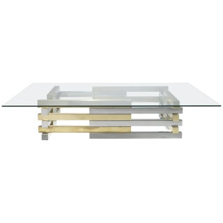 Rare Large Brass and Chrome Coffee Table by Pierre Cardin, 1970s For Sale