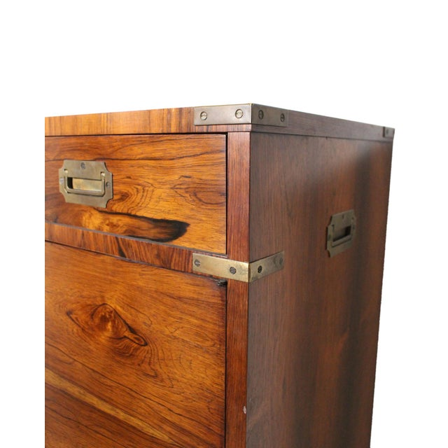 Cinnamon 20th Century Campaign John Stuart Rosewood and Brass Highboy Dresser For Sale - Image 8 of 13