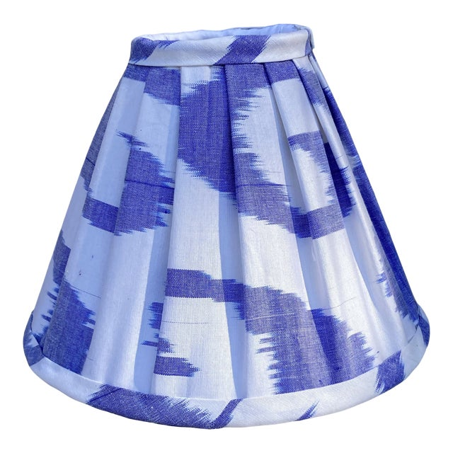 Contemporary Pleated Blue and White Ikat Lampshade For Sale