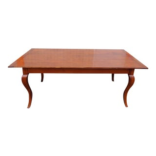 Fine Cherry Country French Dining Room Farmhouse Table W/ 2 Leaves C1990s For Sale