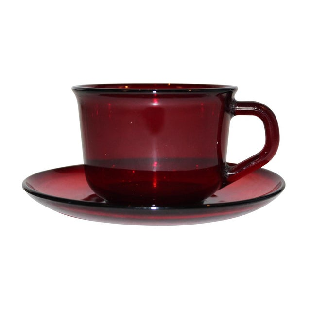 Arcoroc Ruby Red Saucers - Set of 4 For Sale - Image 4 of 4