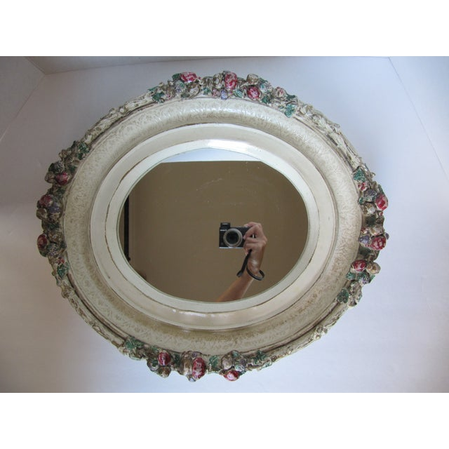 Oval Distressed Flower Mirror - Image 4 of 8