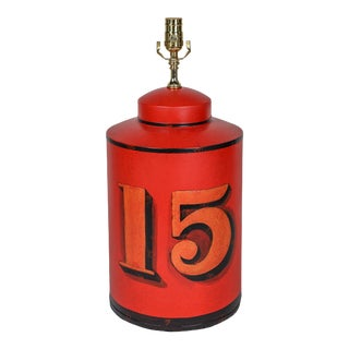 1970s English Export Hand-Painted Number 15 Tea Caddy Table Lamp For Sale