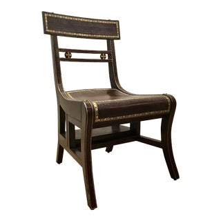 Vintage Maitland-Smith Regency Style Tooled Leather Library Step/Chair For Sale
