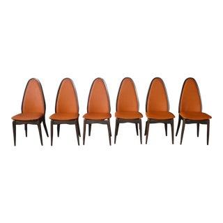 1960s Mid Century Modern Mandarin Orange Stakmore Folding Chairs - Set of 6 For Sale