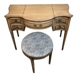 Vintage Herald Furniture Hand-Painted Vanity + Stool Set For Sale