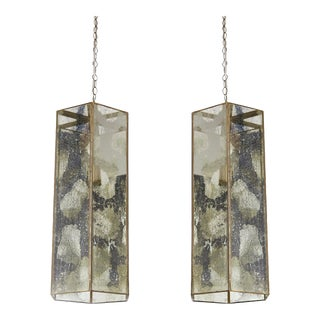 Pair of Contemporary Brass and Mercury Style Glass Pendant Lamps or Lanterns For Sale