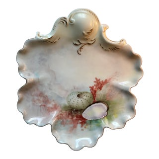 Hand Painted Porcelain Dish With Shells & Coral For Sale