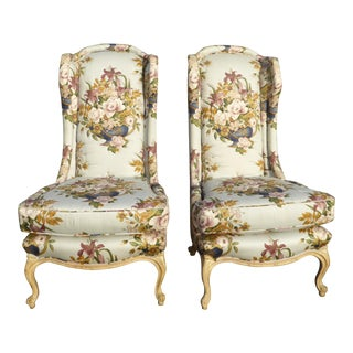 1970s Vintage French Country Floral Tall Back Wingback Chairs- a Pair For Sale