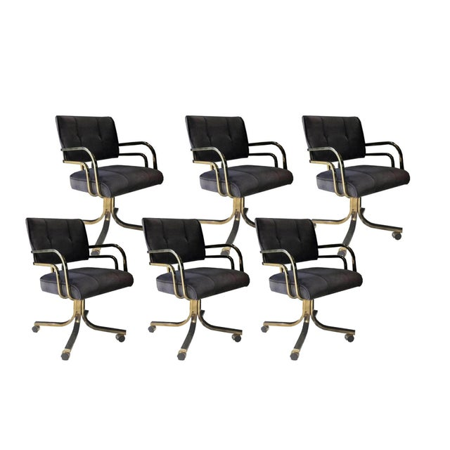 Set of Six Vintage Brass Office or Dining Chairs on Casters For Sale In Chicago - Image 6 of 6