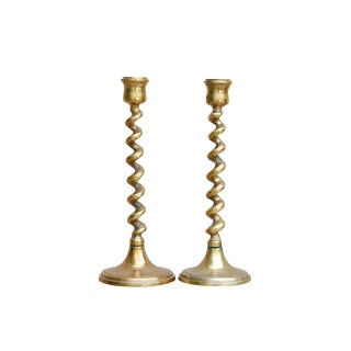 Twisted Brass Candlestick Holders, a Pair
