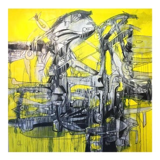 "Contemporary Abstract Yellow & Black Oil Painting ""Leviatan"" by Maximo Caminero For Sale"