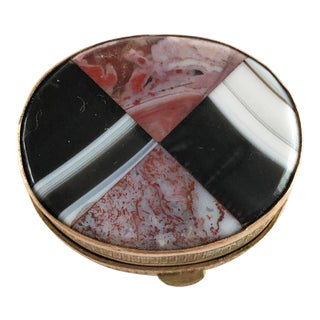 Antique Victorian Scottish Inlaid Agate Snuff Box For Sale