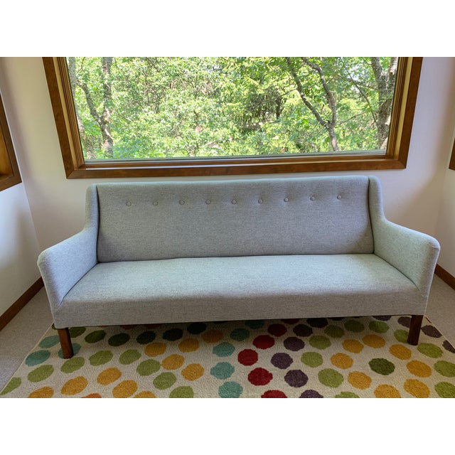 1960s Grey Upholstered Sofa For Sale - Image 9 of 9