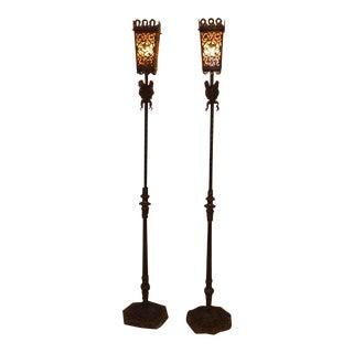Oscar Bach Style Bronze Floral Design Torcheres - a Pair For Sale