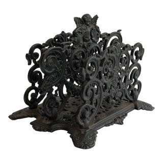 Art Nouveau Black Cast Iron Cherub Letter Holder