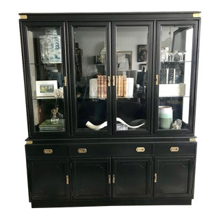 1950s Campaign Black Display/Curio Cabinet With Interior Lights For Sale