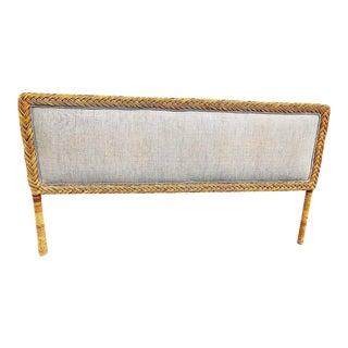 1970s Vintage Rattan Upholstered King Headboard For Sale