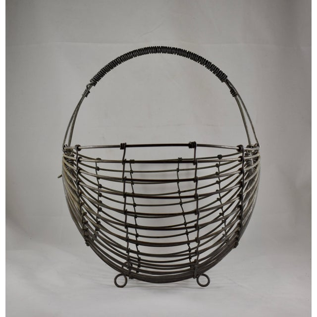 Metal 1970s Karl Howard Galvanized Steel Handmade Art Basket, Signed For Sale - Image 7 of 13