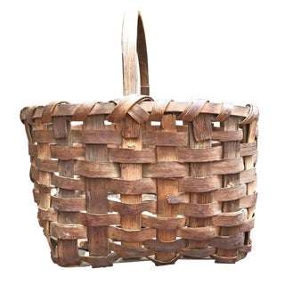 19th Century New England Gathering Basket For Sale
