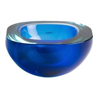 1970s Cenedese Murano Blue Art Glass Bowl Designed by Antonio Da Ros For Sale