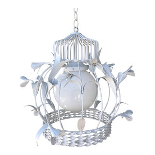 1950s Vintage White Tole Birdcage Chandelier For Sale