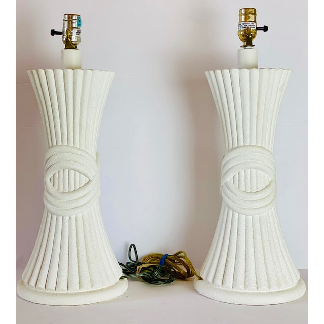 Modern 1970s Sculptural Plaster White Table Lamps - a Pair For Sale - Image 3 of 8