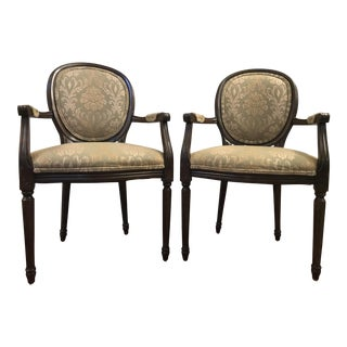 French Antique Style Fauteuil Accent Chairs - A Pair