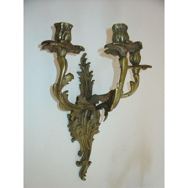 French Rococo Louis XV Style Bronze Three-Arm Sconces a Pair For Sale - Image 4 of 9
