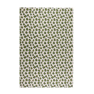 "Leopard Cashmere Blanket, Green, 51"" x 71"" For Sale"