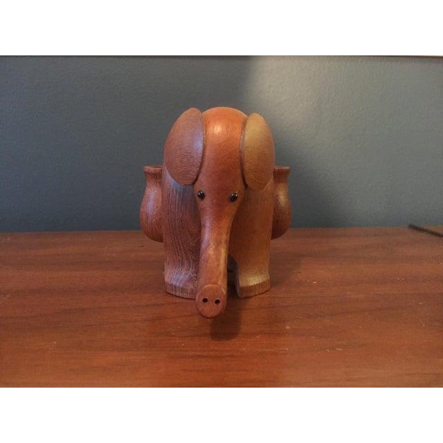 Vintage Hand Carved Teak Elephant Tooth Pick Holder - Image 5 of 7