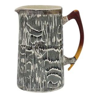 1930s Silver Shield Faux Bois Jug