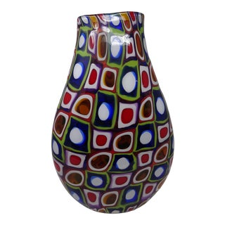 2004 Jeremy Popelka Signed Vase Large Multi Color Hand Blown Glass For Sale