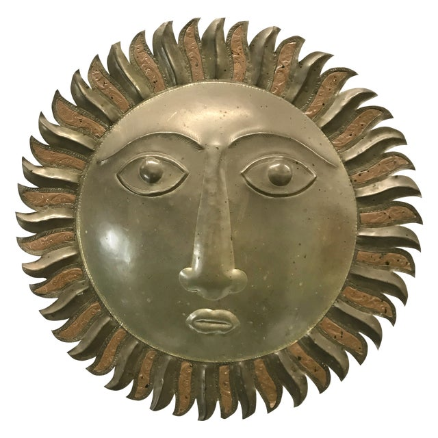 Sergio Bustamante-Style Brass and Copper Sun Wall Sculpture, 1970s For Sale