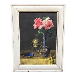 1930s Still Life With Roses and Cloisonné