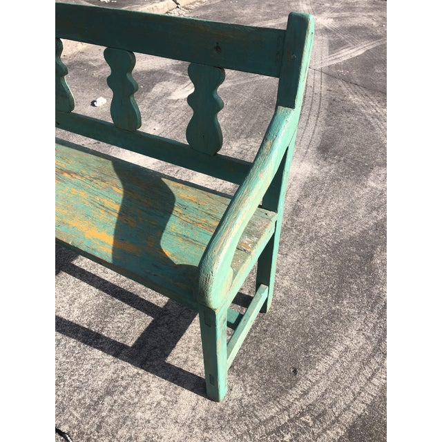 Distressed Turquoise Antique Santa Fe Bench For Sale - Image 4 of 13