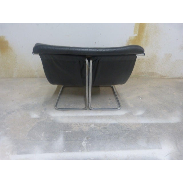 Stylish Quality 60's Architectural Aluminum and Leather Scoop Chair For Sale - Image 4 of 7