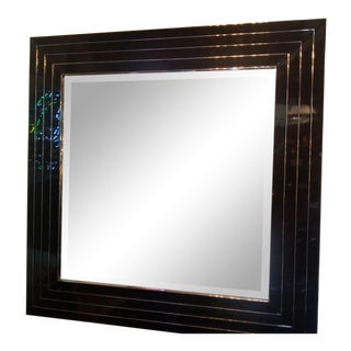 Vintage Mid Century Modern Sally Sirkin Lewis for J Robert Scott Ebony Glass Concentrically Beveled Square Wall Mirror For Sale